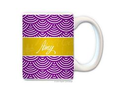 Purple/Yellow Shell Personalized Coffee Mug from Paper Concierge