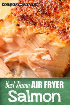 Air Fryer Oven Recipes, Air Frier Recipes, Air Fryer Dinner Recipes, Air Fryer Recipes Salmon, Baked Salmon Recipes, Seafood Recipes, Cooking Recipes, Healthy Recipes, Pork Rib Recipes