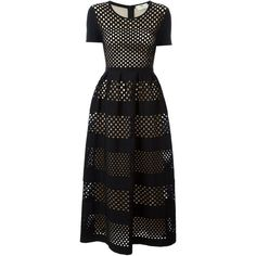 Fendi long mesh tiered dress ($2,695) ❤ liked on Polyvore featuring dresses, black, fendi, round neckline dress, long skater skirt, mesh dress and long tiered dress