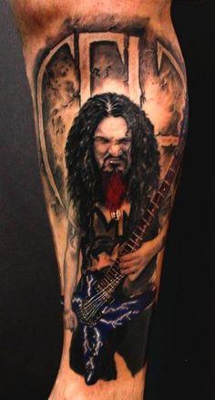 Dimebag Darrell Tribute Tattoos - Page 4 Badass Tattoos, Great Tattoos, Awesome Tattoos, Ink Tattoos, Pantera Band, Tribute Tattoos, Fan Tattoo, Dimebag Darrell, Cool Tats