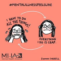 Illustrator Gemma Correll suffers from anxiety and depression, and she uses humor to cope. Her charming mental health comics offer support to others. Mental Health America, Mental Health Issues, Mental Health Humor, Mbti, Infp, Mental Illness Awareness, Thoughts, Texts, Mental Health