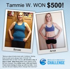 Woo hoo! Go Tammie! This stay at home mom with 3 kids used Focus T25 to lose incredible 37 pounds! #beforeandafter #weightloss #Beachbody