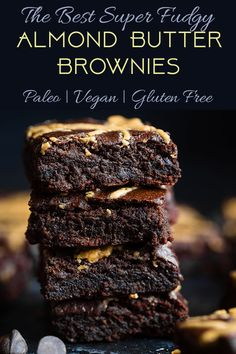 The BEST Paleo Almond Butter Brownies - SO dense, chewy and fudgy that will never believe these are vegan, gluten/grain/dairy/oil free and only 150 calories! Made in one bowl and SO easy! | #Foodfaithfitness | #Paleo #glutenfree #brownies #paleobrownies #almondbutter