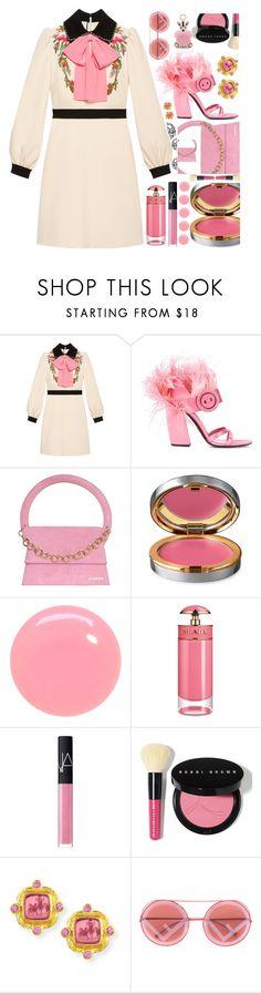 """Gucci girl"" by sunnydays4everkh ❤ liked on Polyvore featuring Gucci, Prada, Jacquemus, La Prairie, JINsoon, NARS Cosmetics, Bobbi Brown Cosmetics, Elizabeth Locke and MCM"
