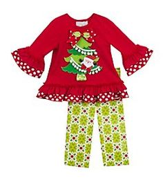 Rare Editions® Girls' 2T-6X 2-Piece Christmas Tree Top And Leggings Set