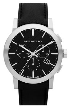 Burberry Check Stamped Round Chronograph Watch, 42mm available at #Nordstrom