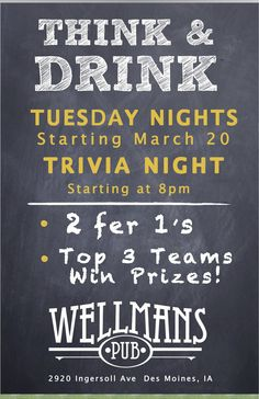 Tuesday night trivia at Wellman's - 8 pm sharp!