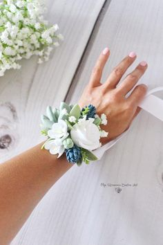 Succulent Corsage Bracelet Wedding flowers Groom boutonniere Succulent Bridesmaid corsage Coordinating wedding accessories Clay Flowers size is about Blue Corsage, Prom Corsage And Boutonniere, Bridesmaid Corsage, Corsage Wedding, Groom Boutonniere, Wedding Bouquets, Corsage Formal, Wedding Flower Guide, Floral Wedding