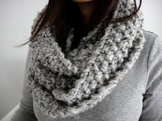 Brooke Chunky Infinity Scarf Cowl, Mineral Gray $45