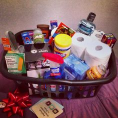 DIY Housewarming gift basket- include household necessities, like cleaning supplies, toilet paper, Band-aids, scented candle, etc, in a laundry basket