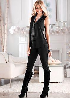 Embellished Tie Blouse $29 Color Skinny Denim $29 Tie Back Boot $36 Venus.com