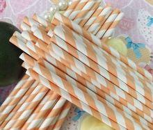 Free Shipping 25pcs Paper Straws,9# Light Orange Striped Drinking Paper Straws Banquet Wedding Decoration(China (Mainland))