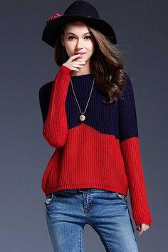 Ellady Contrast Color Block Pullover Sweater