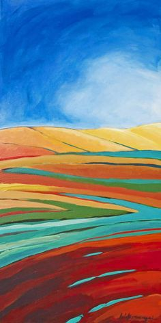 Red Field, Acrylic on Canvas, 18 x by collaborating twin artists, Lisa and Lori Lubbesmeyer Landscape Art Quilts, Landscape Paintings, Fabric Painting, Fabric Art, Ocean Quilt, Cool Landscapes, Land Art, Painting Inspiration, Fiber Art