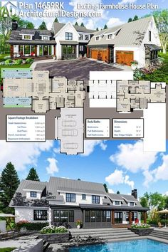 Plan Exciting Farmhouse House Plan Architectural Designs Modern Farmhouse Plan gives you 4 beds, baths and over square feet of heated living space PLUS a basement giving you expansion space. Ready when you are. Where do YOU want to build? New House Plans, Dream House Plans, 5 Bedroom House Plans, Modern Farmhouse Plans, Farmhouse Style, Farmhouse Design, Farmhouse Office, Farmhouse Trim, Farmhouse Layout