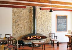 Wood fireplace / contemporary / open hearth / hanging ANTEFOCUS Focus