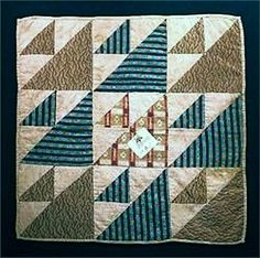 Signed 1851 Doll Quilt. Pretty color combination. Would make a great corner block for flying geese quilt border.
