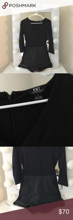 KNT Black Romper KNT Black Romper with leather shorts. Size S. Amazing thick, quality material. KNT Other