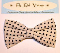 Vintage 1920s Style Hair Bow Clip Polka Dot by FlyGirlVintage, $4.00