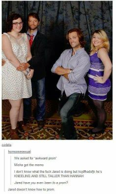 """Supernatural haha """"Jared doesnt know how to prom"""" .. Misha Collins and Jared Padalecki"""