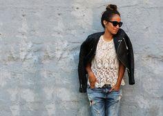 Leather jacket & lace