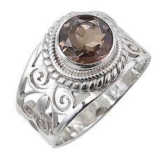 Himalayan Gems Sterling Silver Gemstone Ring - SMOKEY QUARTZ