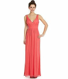 This shape is really nice. I think I am leaning towards long dress and empire waist. Jodi Kristopher V-Neck Cage-Back Gown. Dillards.