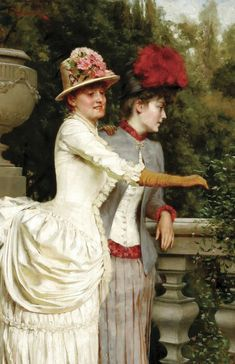 Women on a Balcony by Frederic Soulacroix, mid-1880's    Love the gloves and the sleeve length.