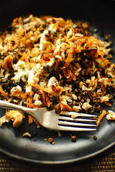 coconut rice with sweet potato and black lentils
