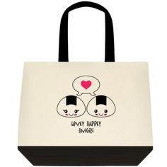 """""""Onigiri Love,"""" Two-Toned Tote Bag Color:  Natural Off-white/Black Color is as pictured here in this image. 100% Cotton (19"""" x 15"""" x 6"""") Find the Two-Toned Tote Bag @  angelwingz_star_designz. $42.99 no extra shipping applied. Ships in U.S.A except for HI & AK.   http://angelwingzstar.wix.com/angelwingzcollection"""