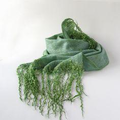 Cobweb Felted scarf -  Mint green.  via Etsy. #felted #scarf #mint #cobweb