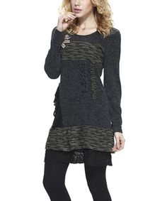 Love this Charcoal Tiered Lace Layered Sweater Dress by Simply Couture on #zulily! #zulilyfinds