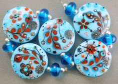 Paradise doodles Lampwork bead set by Pixie Willow