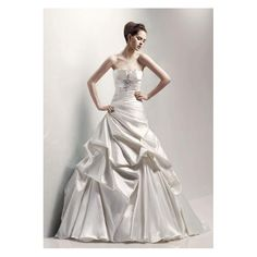 Satin Strapless Ruched Bodice with A line Asymmetrical Pick up Skirt in Sweep Train New Wedding Dress WD-0213