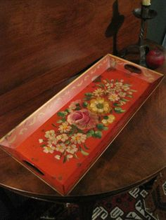 "Antique 1800s Rare ""BEST COLOR""  Folk Art TOLEWARE  Decorated Floral Tray AAFA #AmericanaFolkArtToleware"