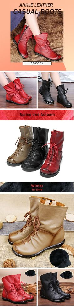 3da24aa9b67 SOCOFY Big Size Pure Color Lace Up Ankle Leather Comfortable Zipper Boots  is hot-sale. Come to NewChic to buy womens boots online.