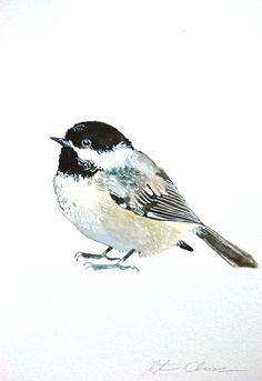 Watercolor Painting Chickadee Original Painting Bird by WoodPigeon, $25.00