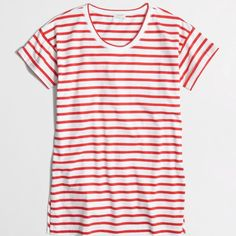 New Item J. Crew Stripe Slit Tunic Color: Ivory Vibrant Flame.                                         Cotton. Standard fit. Machine wash.                                                            Factory Brand J. Crew Tops