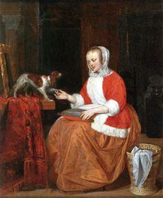 Gabriël Metsu - Vrouw speelt met hond