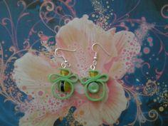 Boucles d'oreilles perle verte et jaune en pâte fimo, fait main : Boucles d'oreille par s-et-s-creations