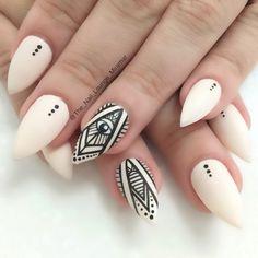 Matte nude nail art design