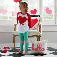 I want this Valentine's Day (Kids) 3/4 Sleeve Red Raglan from Hello Apparel (via @hellomerch)