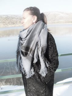 Gray Blanket Scarf  Women Scarf  Plaid Scarf  Plaid by Ebruk