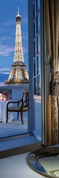 Have a room with a view of the Eiffel Tower from my private balcony. :-)