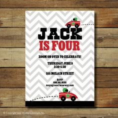 Modern race car birthday party invitation - with chevron - zoom on over.