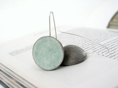 Grey, green mint dangle earrings, air dry modelling clay, modern minimal, dome earrings, natural, pastel, by antigonicreations on Etsy, $18.00
