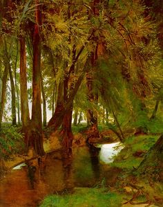 Forest with brook by Karl Blechen Germany Counted Cross Stitch Patterns, Cross Stitch Designs, Carl Blechen, Hans Thoma, Intermediate Colors, Middle Earth Map, Caspar David Friedrich, Expressionist Artists, Cross Stitch Supplies