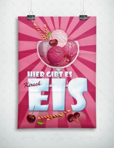 Hier gibt es Kirscheis - Werbeplakat - Poster, P-FP-0028B   Gastronomie   Plakate   Werbedesigns   Despri