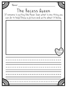 Jean The Recess Queen Mean Jean The Recess Queen back to school activity! A fun way to encourage kindness with your students.Mean Jean The Recess Queen back to school activity! A fun way to encourage kindness with your students. 2nd Grade Ela, First Grade Classroom, Second Grade, Kindergarten Classroom, Grade 2, Classroom Ideas, Reading Response Activities, Writing Activities, Reading Comprehension