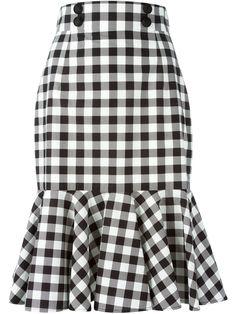 Black and white cotton check ruffle skirt from Dolce & Gabbana featuring a high waist, a front button fastening, a rear zip fastening and a ruffled hem. by farfetch Ruffle Skirt, Dress Skirt, Frilly Skirt, Pleated Skirts, Cotton Skirt, Sheath Dress, Waist Skirt, Skirt Outfits, Cute Outfits